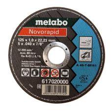 Круг абразивный отрезной 125х1,0х22 мм по нержавейке A46T Inox NOVORAPID METABO 617020000