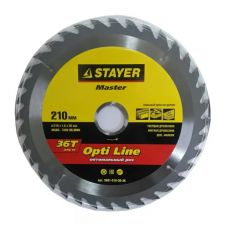 Пила диск 210х30х36Т твердосплавные пластины дерево STAYER 3681-210-30-36