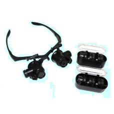 Лупа налобная 10х/15х/20х/25х очки с подсветкой 2 LED отражатель 2 светодиода 63283