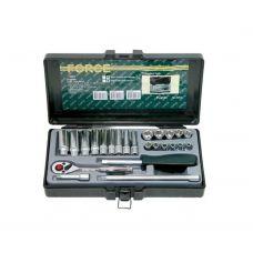 Набор инструмента головок 24 предметов 1/4 дюйма размер  5-13 дюймов длинные и 4-13 дюймов короткие 6 граней трещотка FORCE 2253