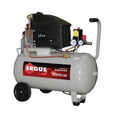 Компрессор объем  50 л производительность 280 л/мин давление 8 бар мощность 2,5 л/с марка ERGUS VENTO-50