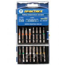 Набор бит 25 предметов вид HEX, TORX, Tri-Wing, Torq-Set, SP хвостовик 1/4 дюйма пластиковый пенал ПРАКТИКА