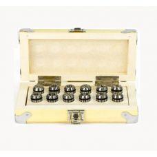 Набор цанг ER32 размер 6, 8, 10, 12, 16, 20 мм упаковка 6 шт деревянный ящик 27999