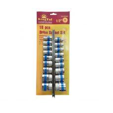 Набор инструмента головок 18 предметов 1/2 дюйма размер 8-32 мм 6 граней KINGTUL KT3029