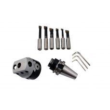 Головка расточная патрон 100 мм диаметр расточной 15-160 мм, хвостовик 7:24-50ВТ MAS403 для станков с ЧПУ, в комплекте 6 резцов сталь Т15К6 47150