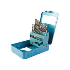 Набор сверл по металлу №19 размер 1-10 мм упаковка 19 шт сталь HSS металлическая коробка HARDAX