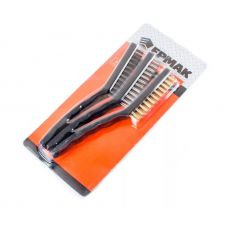 Щетки металлические пластмассовая ручка 3 шт большие ЕРМАК 656-068