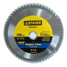 Пила диск 250х30х60Т твердосплавные пластины дерево чистый рез STAYER 3682-250-30-60