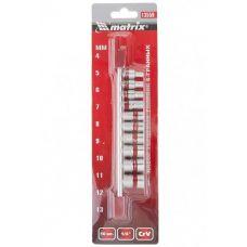Набор инструмента головок 10 предметов 1/4 дюйма размер 4-13 мм 6 граней Matrix 13559