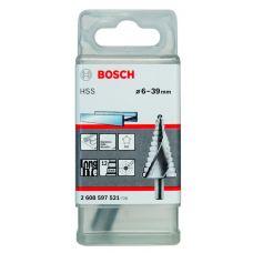 Сверло ступенчатое по металлу BOSCH 2608597521 6-39 мм 12 ступеней сталь HSS 2608597521