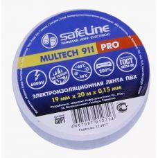Изолента ПВХ SAFELINE белая 19 мм х 20 м температура -50С +80С напряжение 6 кВ 18737