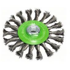 Щетка дисковая 115х14 плетеная сталь 0,5 мм Нерж BOSCH БОШ INOX 2608622106