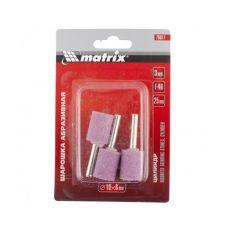 Шарошка абразивная цилиндр диаметр 19х25х6 мм F46 упаковка 3 шт MATRIX 76017