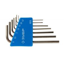 Ключи шестигранные комплект 7 шт Г-образные 0,7/0,9/1,3/1,5/2/2,5/3 мини ЗУБР 27471-Н7