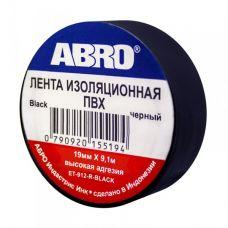 Изолента ПВХ ABRO черная 19 мм х 9,1 м высокая адгезия ЕТ-912-R-BLACK
