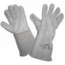 Перчатки спилк цельные серые 0222